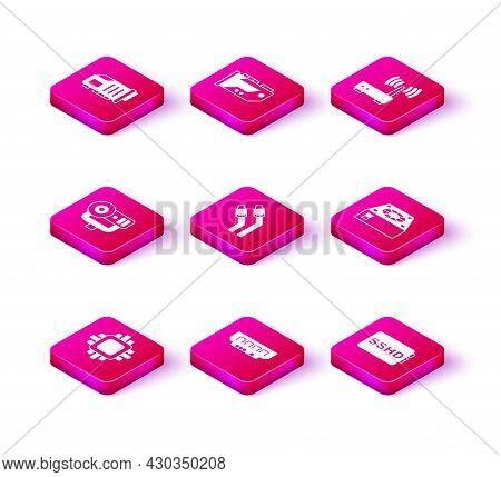 Set Processor With Cpu, Ram, Random Access Memory, Web Camera, Lan Cable Network Internet, Sshd Card