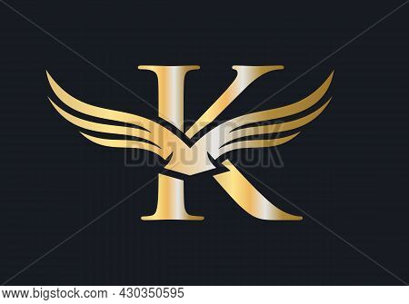 K Letter Wing Logo Design. Initial Flying Wing K Letter Logo. Letter K Logo And Wings Concept