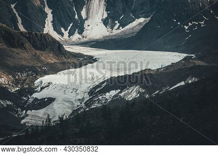 Beautiful Mountain Landscape With Long Glacier Tongue And Great Snowy Mountain Wall. Scenic Alpine L