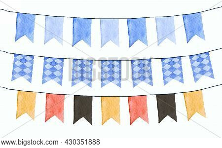 Dark And Light Blue Flags For Octoberfest Banner. Illustration Of Decorations For The German Festiva