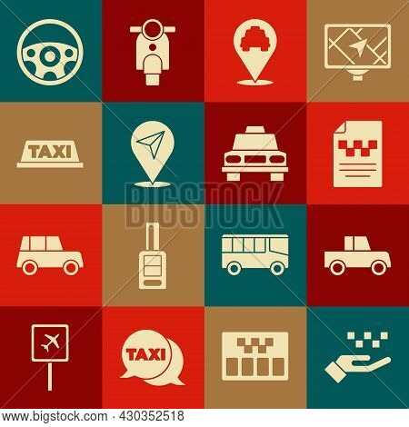 Set Hand With Taxi, Car, Taxi Driver License, Location, Car Roof, Steering Wheel And Icon. Vector
