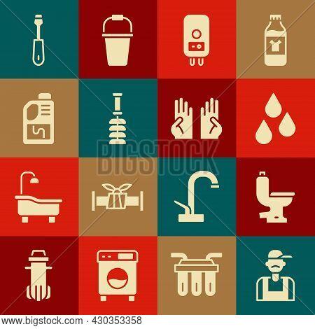 Set Plumber, Toilet Bowl, Water Drop, Electric Boiler, Brush, Drain Cleaner Bottle, Screwdriver And