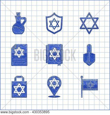 Set Jewish Torah Book, Star Of David, Flag Israel, Hanukkah Dreidel, Shopping Bag With Star David, T