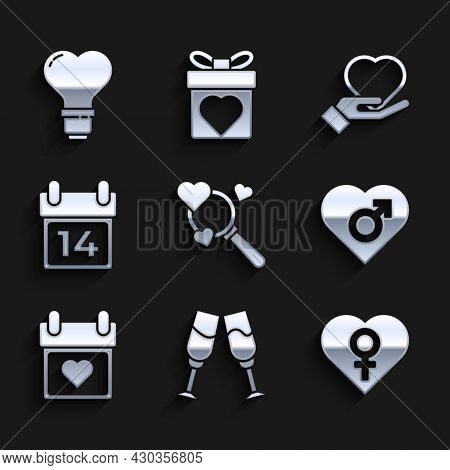 Set Search Heart And Love, Glass Of Champagne, Heart With Female Gender, Calendar, February 14, On H