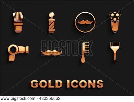 Set Mustache, Electric Razor Blade For Men, Hairbrush, Dryer, Shaving And Classic Barber Shop Pole I