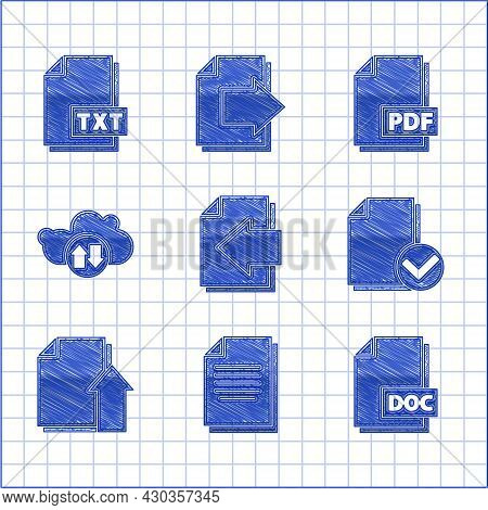 Set Next Page Arrow, Document, Doc File Document, And Check Mark, Upload, Cloud Download Upload, Pdf
