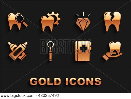 Set Dental Inspection Mirror, Broken Tooth, Tooth, Clipboard With Dental Card, Crossed Tube Of Tooth