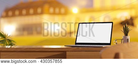 Working Desk With Laptop Mockup And Copy Space On Wooden Table Top