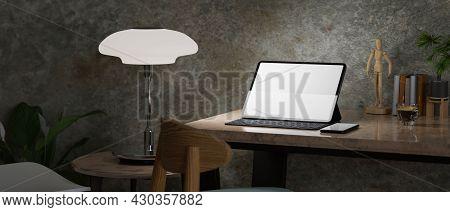 Dark Modern Hipster Working Space, Grunge Polished Loft Wall, Digital Tablet Mockup