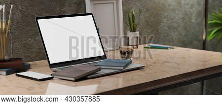 Modern Vintage Loft Work Place Interior Style, Laptop Blank Screen, Frame Mockup