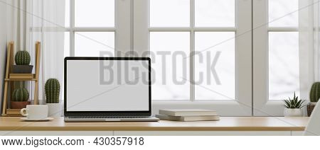 Minimal Workspace Interior Design, Opened Laptop Screen Mockup 3D Rendering