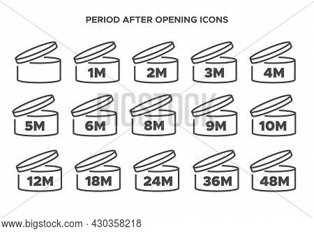 Pao Vector Symbol. Period After Opening Icon Set. Cosmetic Open Month Life Shelf. Cosmetic Product E