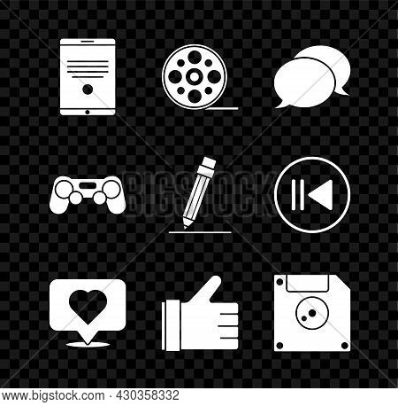 Set Tablet, Film Reel, Speech Bubble Chat, Like And Heart, Hand Like, Floppy Disk For Computer Data