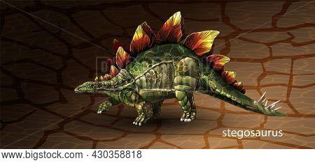 Vector Realistic Green Skin Stegosaurus Dinosaur With Leg Up Clip Art. Vector Illustration With Simp