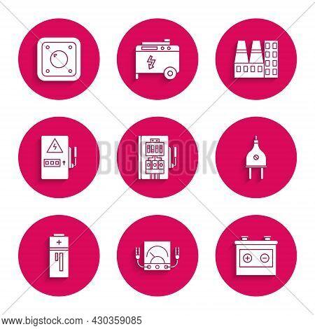 Set Electrical Panel, Ampere Meter, Multimeter, Voltmeter, Car Battery, Plug, Battery, Power Station