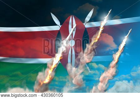 Kenya Nuclear Missile Launch - Modern Strategic Nuclear Rocket Weapons Concept On Blue Sky Backgroun