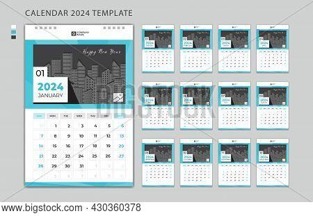 Wall Calendar 2024 Design Template, Week Starts On Monday, Set Of 12 Months, Desk Calendar 2024 Desi