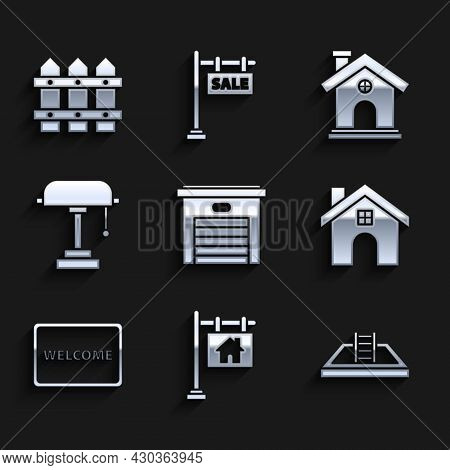 Set Garage, Hanging Sign With Text Sale, Swimming Pool Ladder, House, Doormat The Welcome, Table Lam