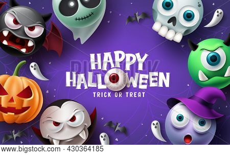 Happy Halloween Text Vector Background Design. Halloween And Trick Or Treat Typography With Scary, S