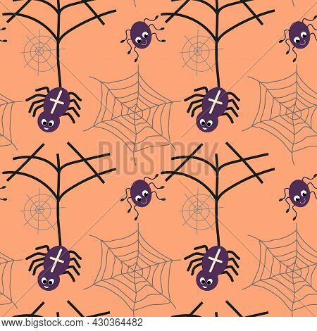 Cute Smiling Hanging Spiders And Web Seamless Pattern. Halloween Print For Card Design, Festive Deco