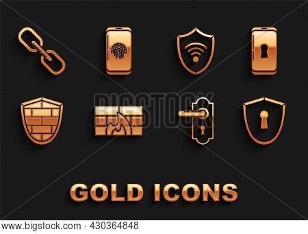 Set Firewall, Security Wall, Smartphone With Lock, Shield Keyhole, Door Handle, Cyber Brick, Wifi Wi