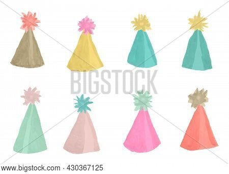 Vector Set Of Multicolored Party Hats With A Pom Pom Stylized As A Watercolor. Set Of Hand-drawn Bri