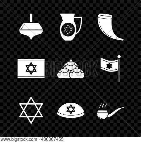 Set Hanukkah Dreidel, Decanter With Star Of David, Traditional Ram Horn, Shofar, Star David, Jewish