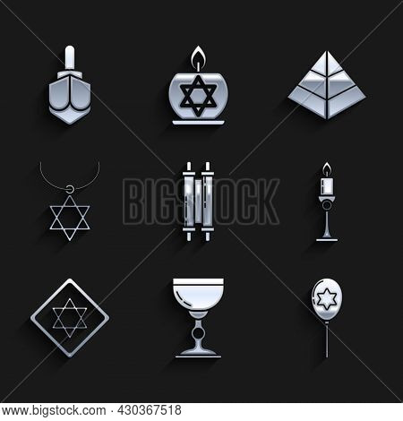 Set Torah Scroll, Jewish Goblet, Balloons With Ribbon With Star Of David, Burning Candle In Candlest