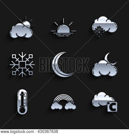 Set Moon And Stars, Rainbow With Clouds, Celsius, Cloud Moon, Thermometer, Snowflake, Snow And Sun W