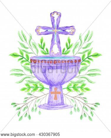 Vector Clipart Of A Violet Baptismal Bowl And A Cross Framed By Green Branches, Stylized As A Waterc