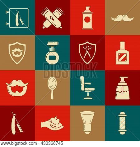 Set Classic Barber Shop Pole, Aftershave, Shaving Gel Foam, Cream Or Lotion Cosmetic Tube, Mustache