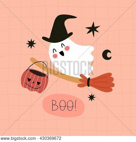 Boo. Cartoon Ghost, Hand Drawing Lettering, Decor Elements. Colorful Vector Illustration, Flat Style