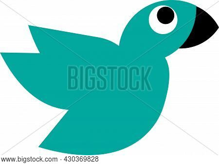 Blue Bird Vector Illustration With A Simple Black Beak, Great For Logos And Icons Of Bird Lovers, Bi
