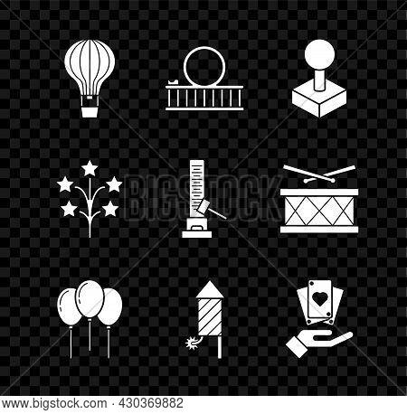 Set Hot Air Balloon, Roller Coaster, Joystick For Arcade Machine, Balloons With Ribbon, Firework Roc
