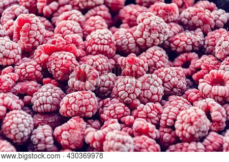 Frozen Raspberries, Covered With Hoarfrost. Close-up Background