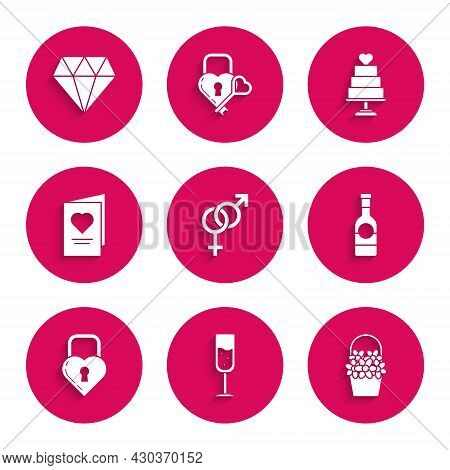 Set Gender, Glass Of Champagne, Flowers In Basket, Champagne Bottle, Castle The Shape Heart, Valenti