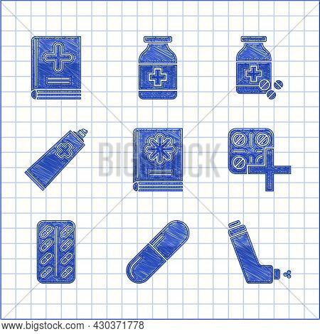 Set Medical Book, Medicine Pill Or Tablet, Inhaler, Pills Blister Pack, Ointment Cream Tube Medicine
