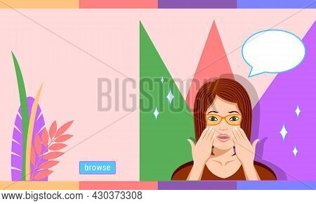 Woman In Glasses In Amazement Emotion Cartoon Style