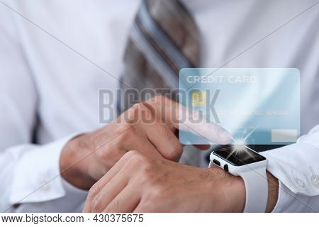 People Using Smart Watch For Payment Credit Card With Technology In The Future, Contactless Payment