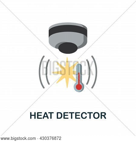 Heat Detector Flat Icon. Colored Sign From Home Security Collection. Creative Heat Detector Icon Ill