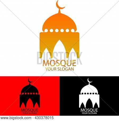 Golden Dome Architecture Logo Icon For Mosque Building, Muslim Holiday Celebration