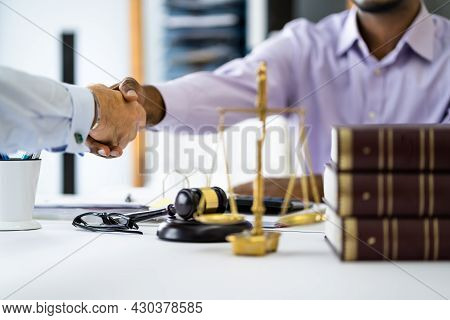 Client Lawyer Handshake In Courtroom. Judicial Law Deal