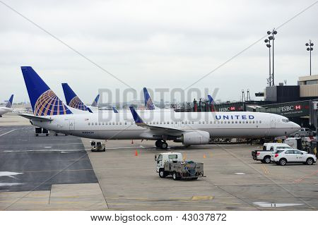NEWARK, NJ - Oct 5: United Airlines plane at airport on October 5, 2011 in Newark, New Jersey. United Airlines merged with Continental in 2010 as now the world's largest airline.