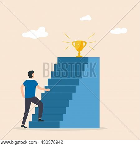 Men Move Up The Ladder To The Goal In The Form Of A Gold Cup. Progress, Carreer Ladder, Success Busi
