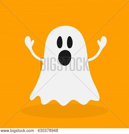 Ghosts In A White Sheet, Costume. Halloween Spooky Monster, Scary Spirit Or Poltergeist Flying In Ni