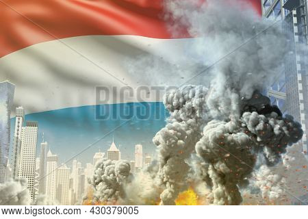 Huge Smoke Column With Fire In The Modern City - Concept Of Industrial Disaster Or Terrorist Act On