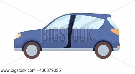 Side View Of Blue Car With Open Door. New Modern Auto. Hatchback Automobile. Road Vehicle. Flat Cart
