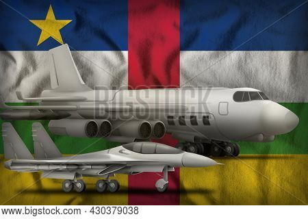 Air Forces On The Central African Republic Flag Background. Central African Republic Air Forces Conc