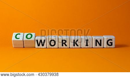 Working Or Coworking Symbol. Turned A Cube And Changed The Word 'working' To 'coworking'. Beautiful