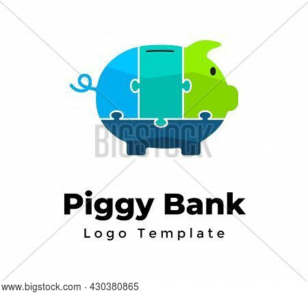Puzzle Piggy Bank. Creative Vector Logo Template. Financial Investments. Abstract Financial Sign. Bu